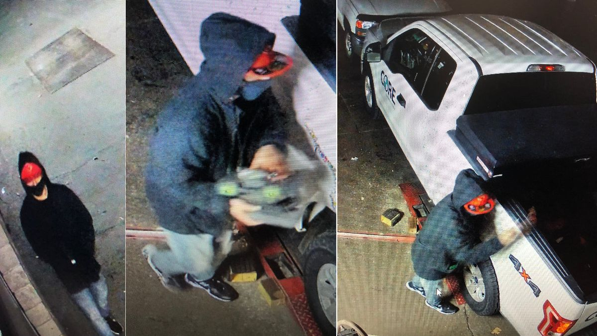 Security camera photos of a suspect in the burglary of a Big O tire store in Sparks.