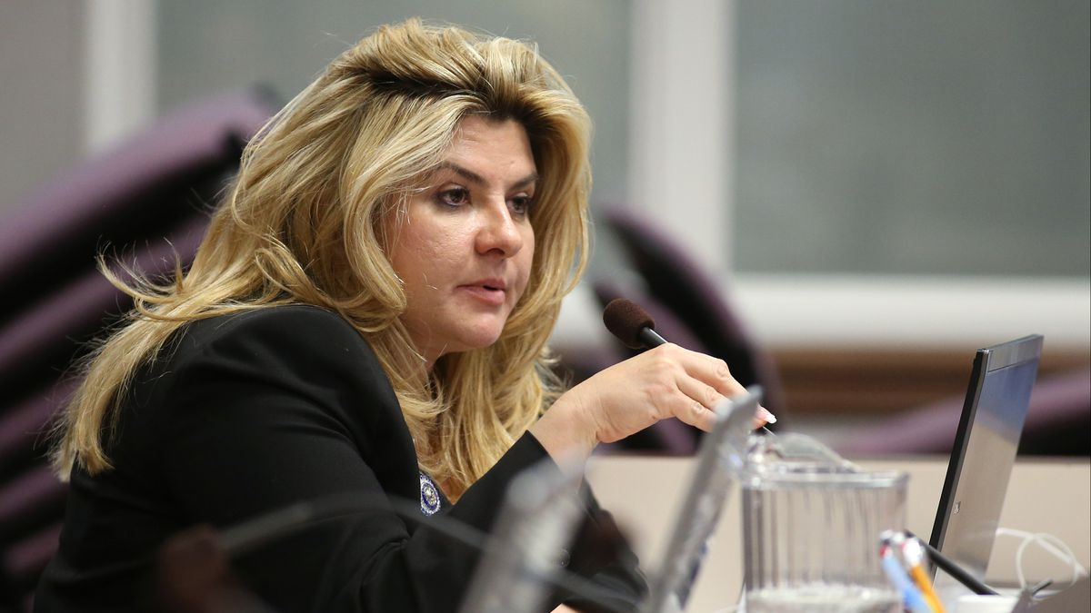 In this June 3, 2013, file photo, then-Nevada Assemblywoman Michele Fiore, R-Las Vegas, works in committee during the final day of the 77th Legislative session at the Legislative Building in Carson City, Nev.(AP Photo/Cathleen Allison, File)