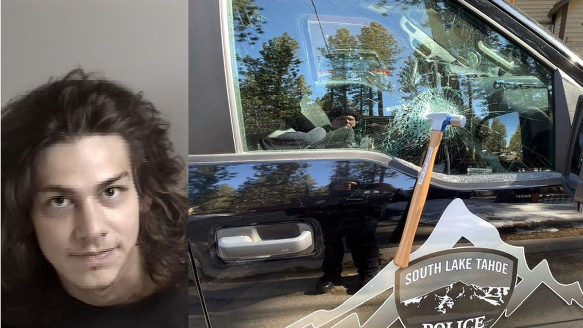 Steven Messina and the hammer in the window of the South Lake Tahoe Police Department patrol...
