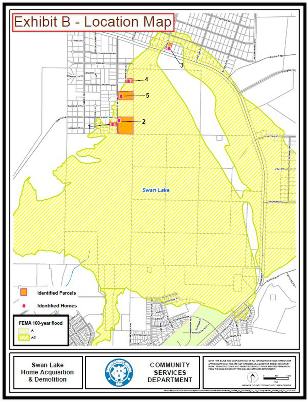 Washoe Co. plans to purchase five homes in the flood plain at Swan Lake and to return the...