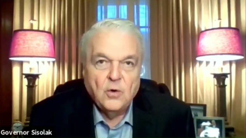 Nevada Gov. Steve Sisolak announces tougher restrictions November 22, 2020 in an effort to...