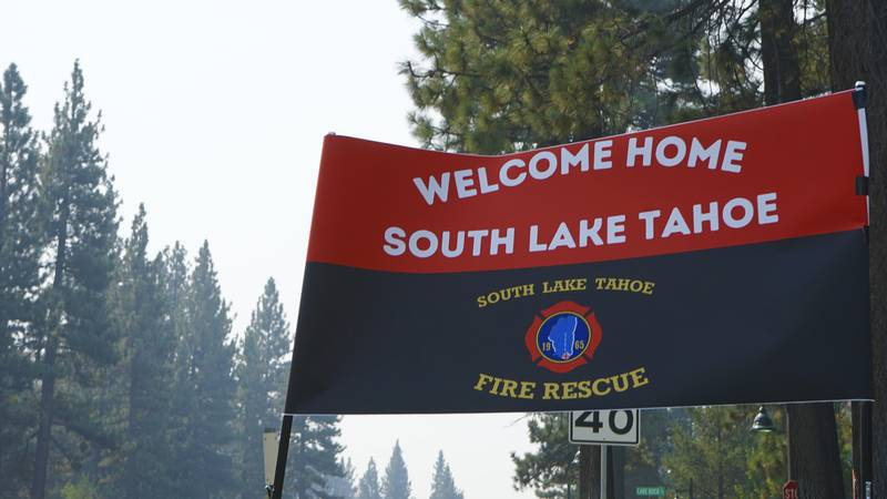 A sign outside a South Lake Tahoe Fire Station welcomes residents back to town after the...