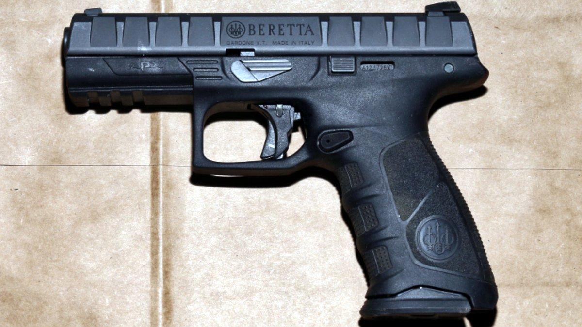 The Las Vegas Metropolitan Police Department said Trent Xavier Leach had this Beretta before he...