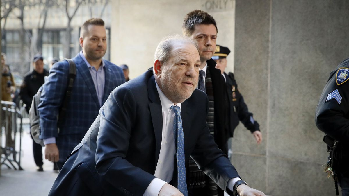 In this Feb. 24, 2020, file photo, Harvey Weinstein arrives at a Manhattan courthouse as jury deliberations continue in his rape trial in New York.