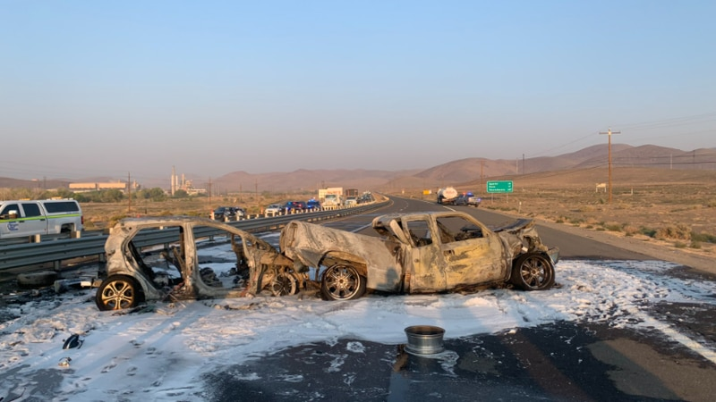 Two cars caught fire in a 5-vehicle crash this morning.