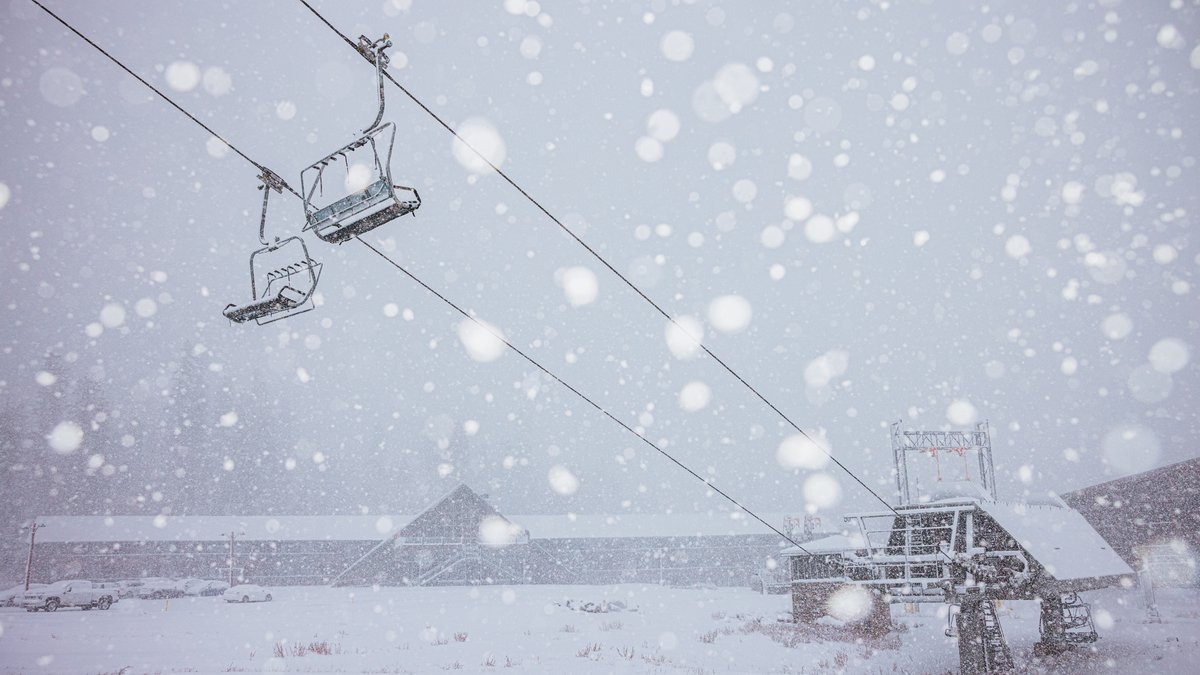 Snow at the Mammoth Mountain Ski area on Oct. 8, 2021, about 40 miles from the Nevada border.