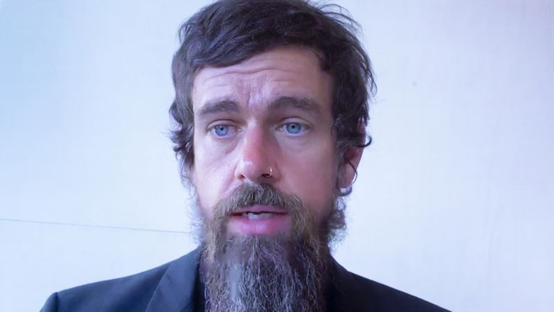 FILE - In this Wednesday, Oct. 28, 2020 file photo, Twitter CEO Jack Dorsey appears on a screen...