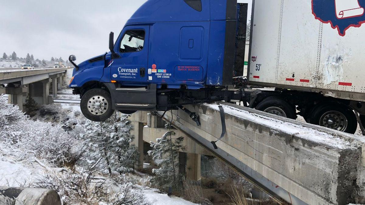 Crews respond to a crash involving a semi along I-80 in Verdi early Wednesday morning.