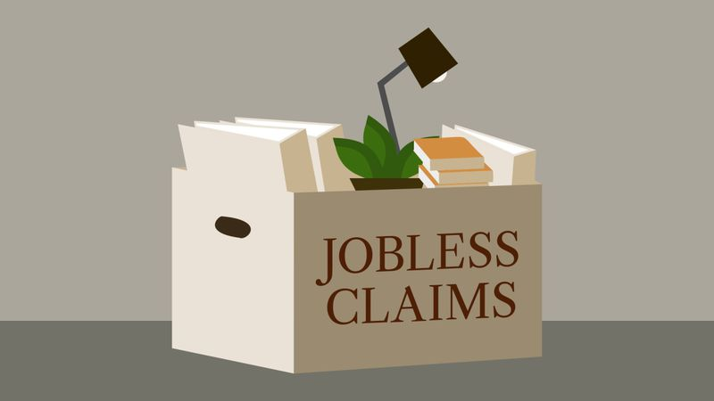 Jobless claims graphic by The Associated Press.