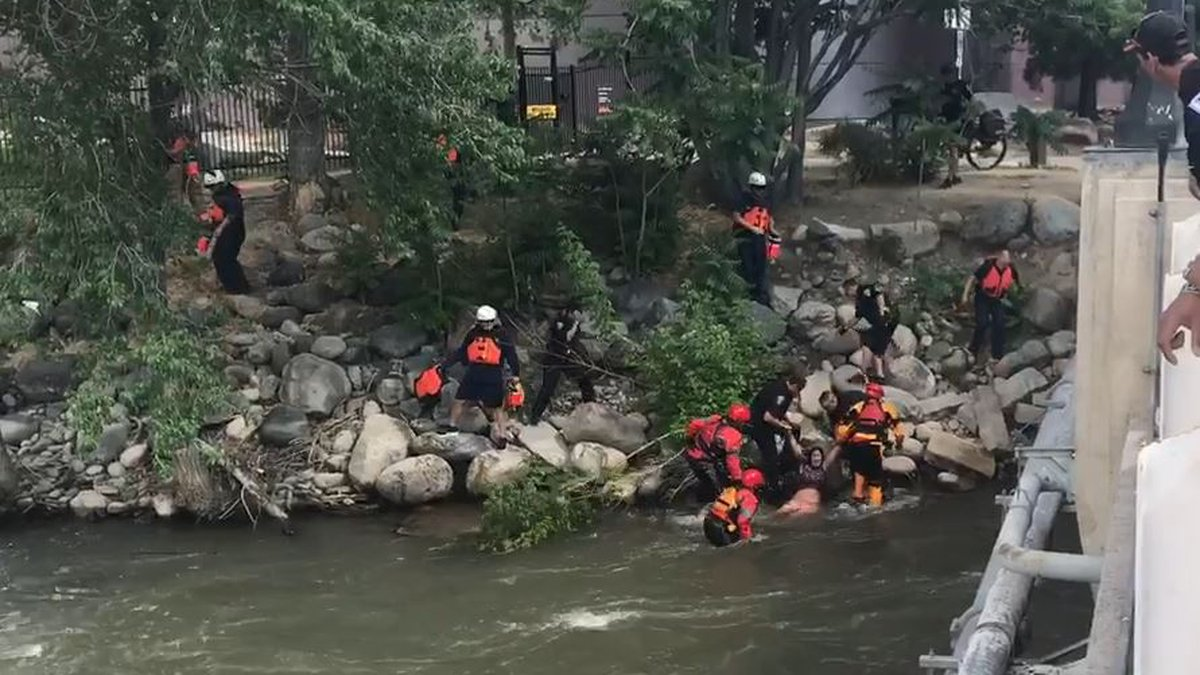 This is a screen capture of a video by Joe Harrington of a rescue of a woman from the Truckee...