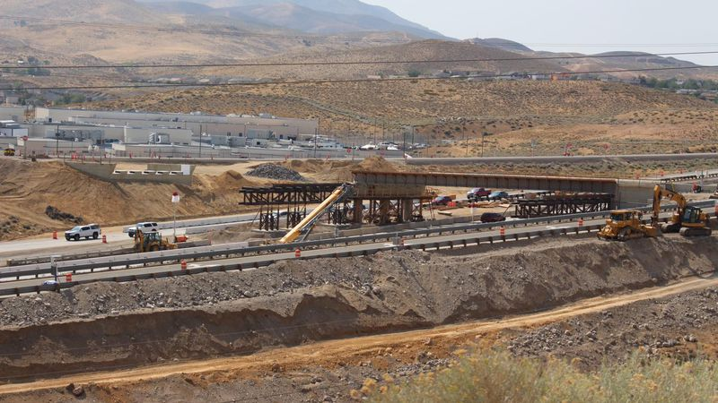 U.S. 395 at Parr/Dandini is back open after crews completed placing the six beams overhead...
