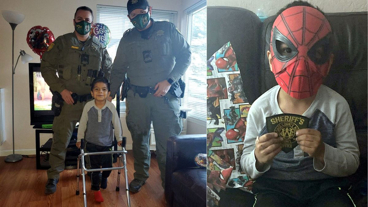 The Washoe County Sheriff's Office posted these images of deputies who visited a 5-year-old boy...