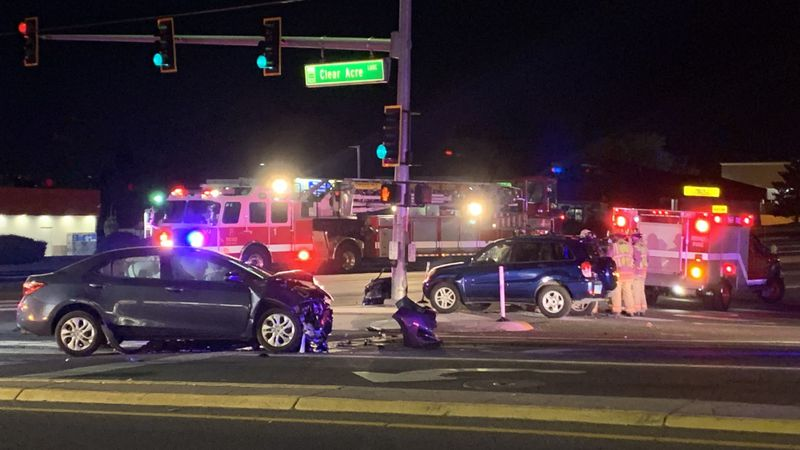 Reno Police investigate a crash at the intersection of Clear Acre Ln. and McCarran Blvd.