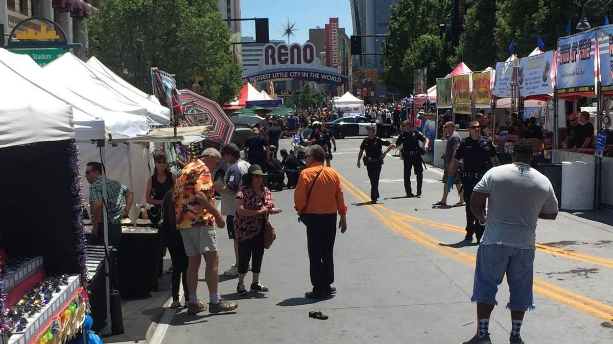 Anthony Spencer took this photo of the scene of a shooting at Wing Fest in downtown Reno.