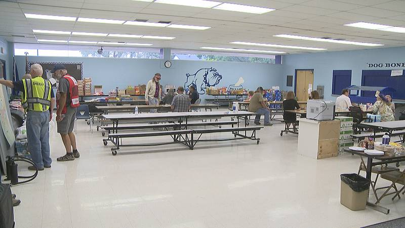 Shelter set up at Smith Valley High School