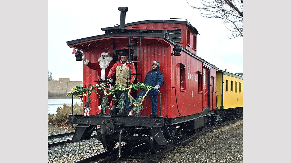 Santa Claus waves from the caboose of the Santa Train at the Nevada State Railroad Museum in Carson City in 2017. The 35th year of Santa Train debuts Dec. 7, 2019. Photo: Guy Clifton/TravelNevada