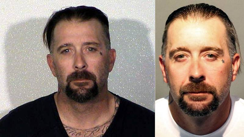 Jay Loren Prater. Douglas County Sheriff's Office booking photo on left; Washoe County...
