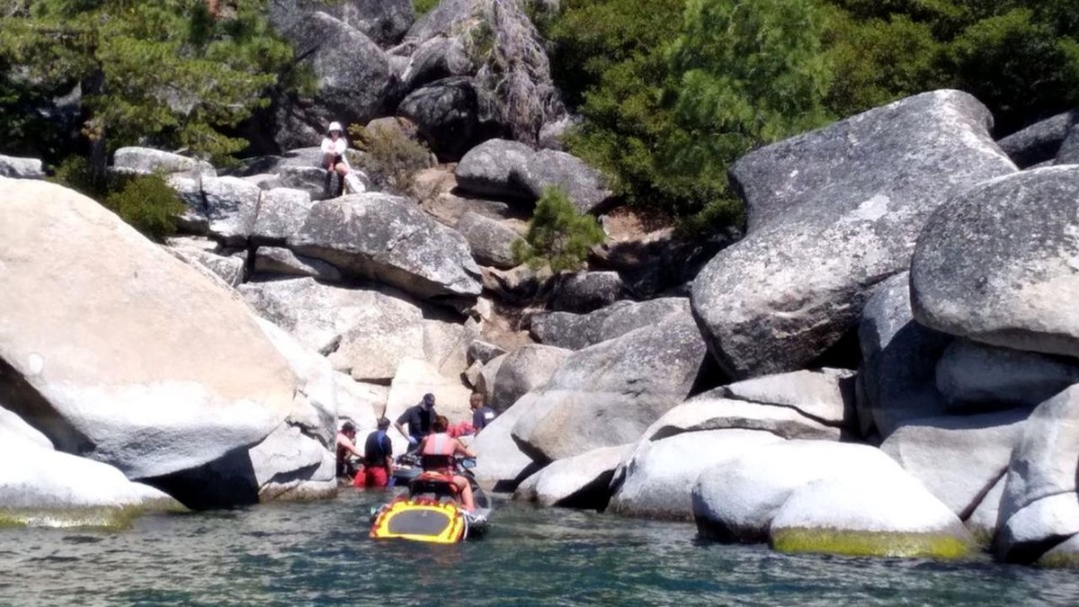 The scene of a rescue of a man from rocks near Sand Harbor.