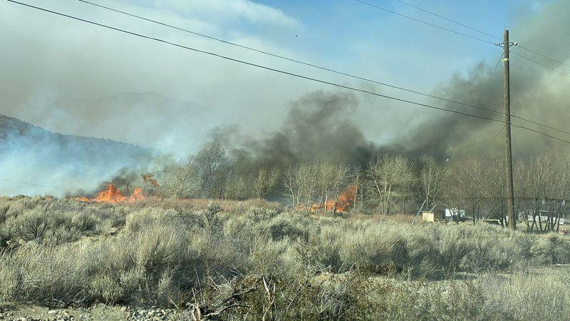 Fire near Walker in Mono County, CA.