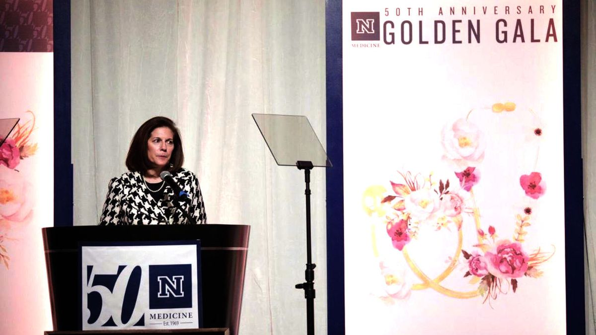 United States Senator Catherine Cortez Masto gives remarks at the 50th anniversary Golden Gala of the University of Nevada, Reno Medical School. UNR Med photo by Brin Reynolds.