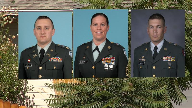 (left to right) Lt.Col. Heath Kelly. Sgt.1stclass Miranda McElhiney, Master Sgt. Christian Riege