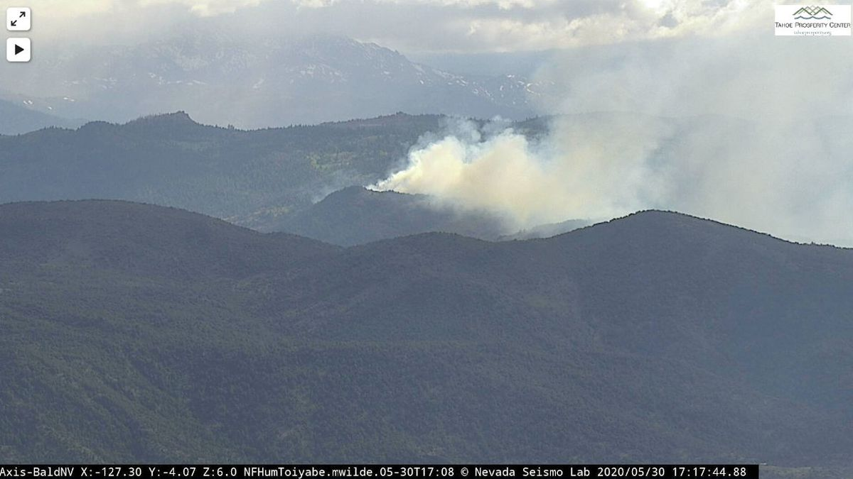 The wildfire as seen from the Bald Mountain camera of the Alert Fire Network.