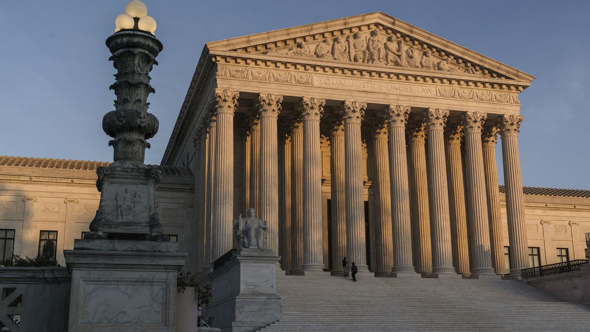 In this Friday, Nov. 6, 2020 file photo, The Supreme Court is seen at sundown in Washington....