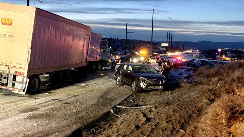 17 vehicles were involved in a crash on U.S. 395 in Washoe County, Nev. on Tuesday, March 9, 2021