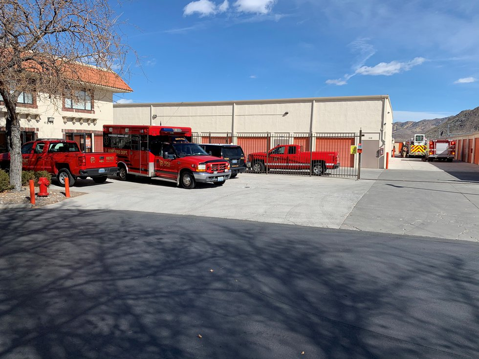 Crews respond to a fire at a storage unit complex on Friday, Feb. 26.