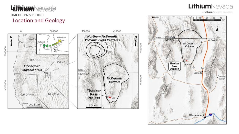 The location of he Lithium Nevada mine at Thacker Pass from the Draft Environmental Impact...