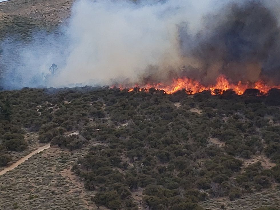 This is the Poeville Fire on Peavine Mountain as photographed by the Washoe County Sheriff's Office RAVEN helicopter.