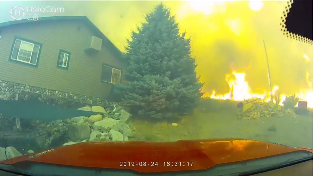 The Truckee Meadows Fire Protection District released video showing how close flames came to...