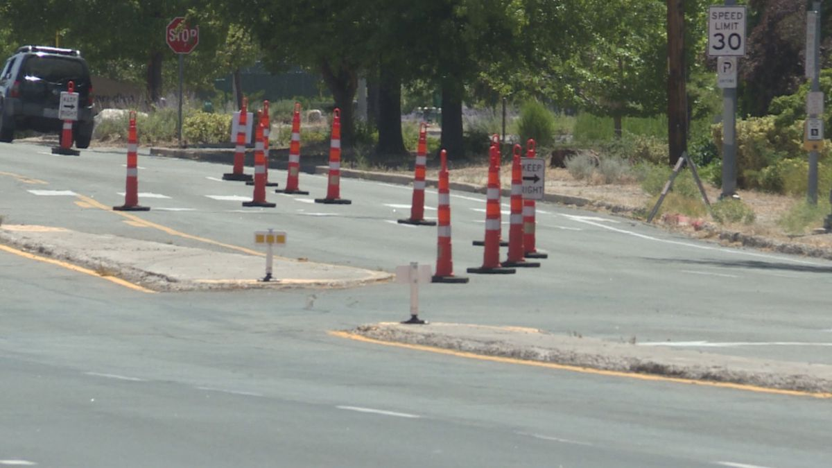 Cones are out on El Rancho Dr. In Sparks as construction began on Wednesday.