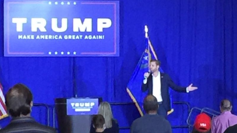 Eric Trump at a campaign rally at the Atlantis Hotel Casino