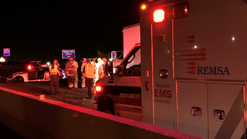 A deadly crash is investigated on Wednesday, May 19, 2021 on eastbound Interstate 80 at Sparks...