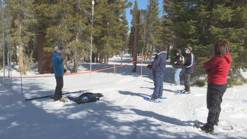 Jeff Anderson held his third snow survey of 2021 on Monday at Mt. Rose summit