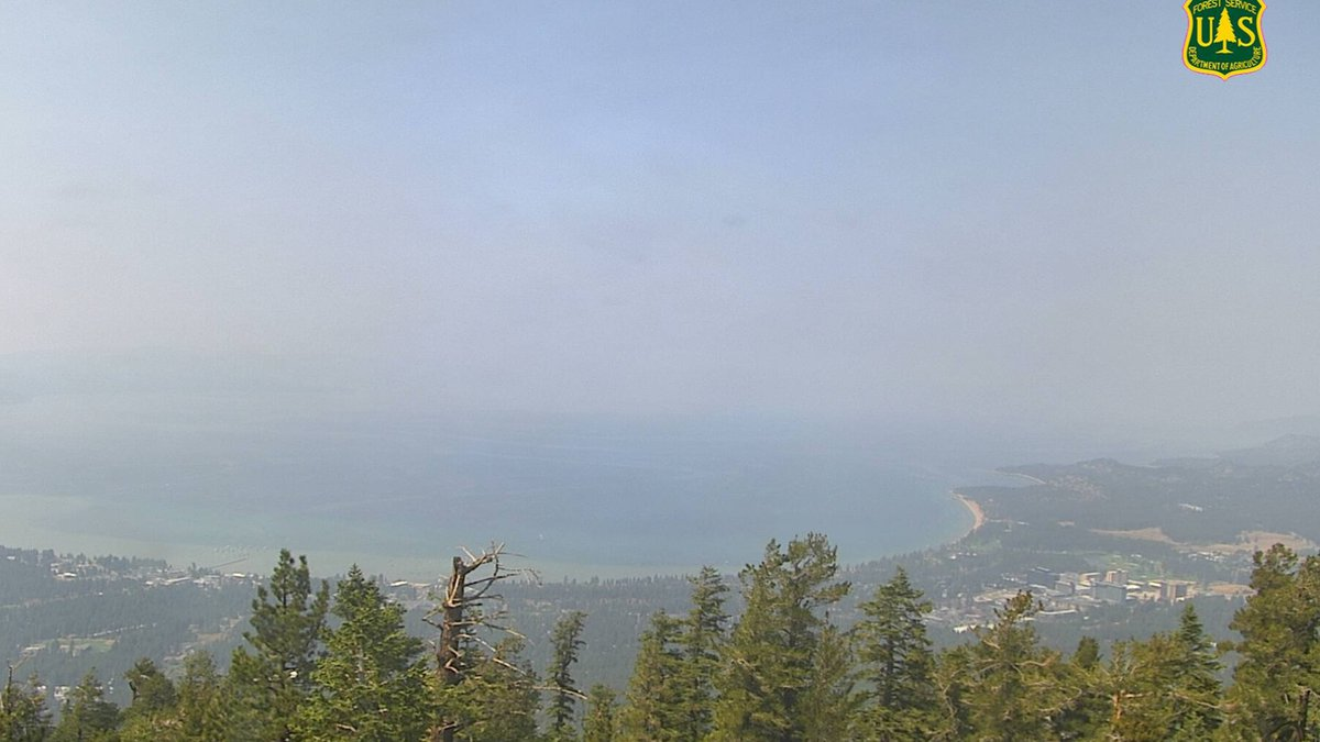 Hazy skies over South Lake Tahoe on Wednesday as crews work to contain the Caldor Fire.