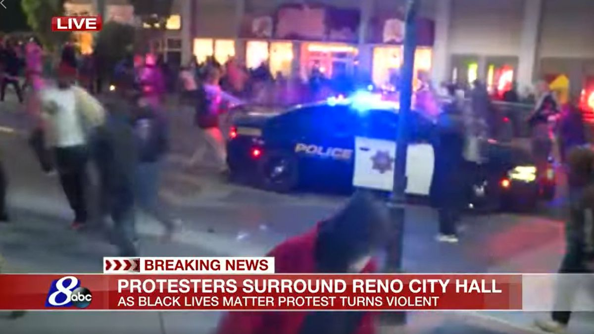 A protest Saturday, May 30, 2020 in downtown Reno ended with a violent confrontation.