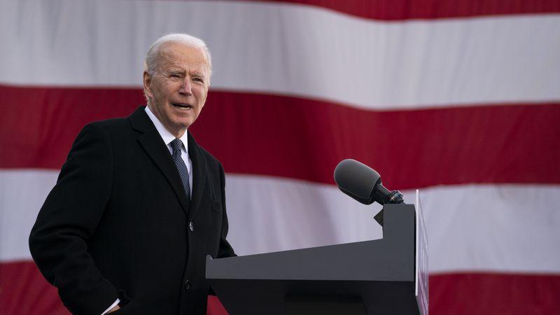 "President-elect Joe Biden speaks at the Major Joseph R. ""Beau"" Biden III National Guard/Reserve..."