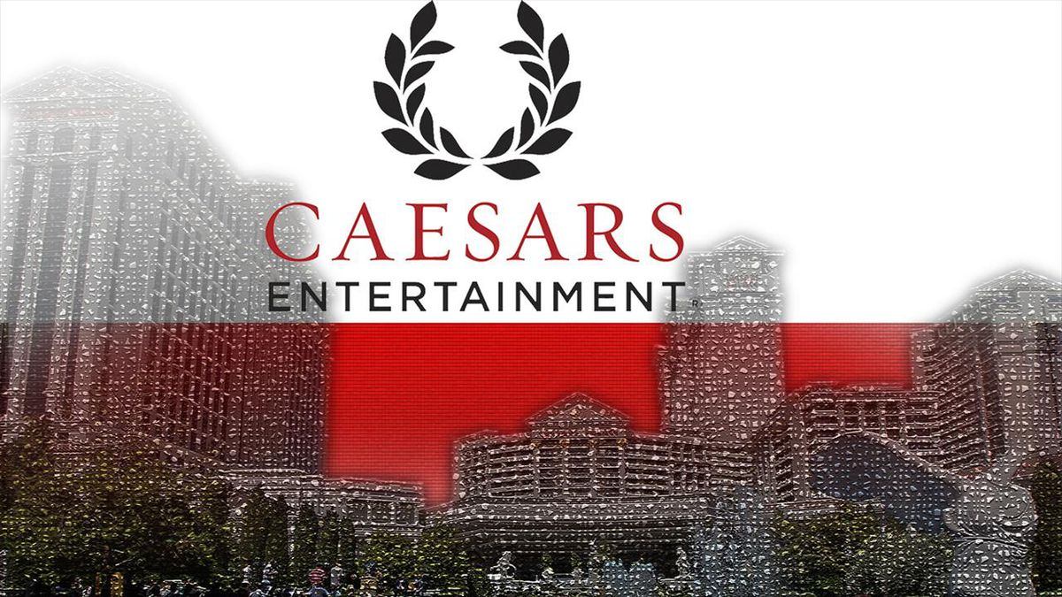 Caesars Entertainment logo above Caesars Palace hotel-casino, Las Vegas.