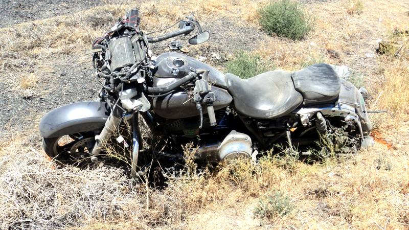 The Nevada Highway Patrol released this photo of the scene of a motorcycle crash that killed...