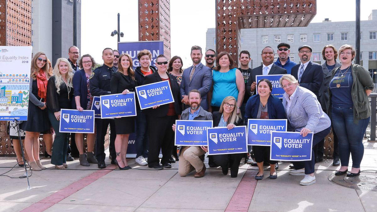 The city of Reno provided this group photo in recognition of its 100-point score in the 2018 Municipal Equality Index, a Human Rights Campaign rating.