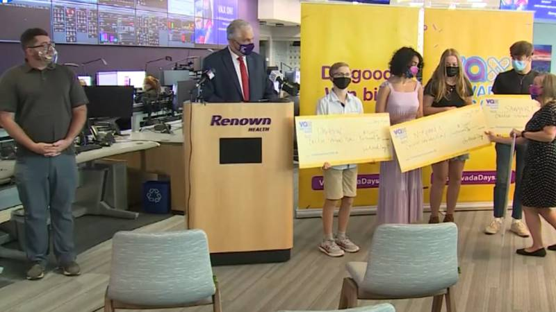 Winners of $5,000 college savings plans introduced at a Vas Nevada drawing at Renown Health.