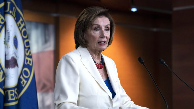 Speaker of the House Nancy Pelosi, D-Calif., speaks during a news conference on Capitol Hill in...