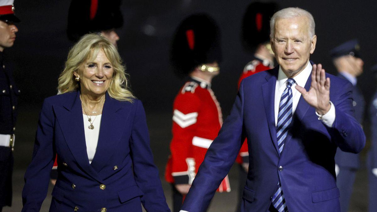 U.S. President Joe Biden and first lady Jill Biden arrive on Air Force One at Cornwall Airport...