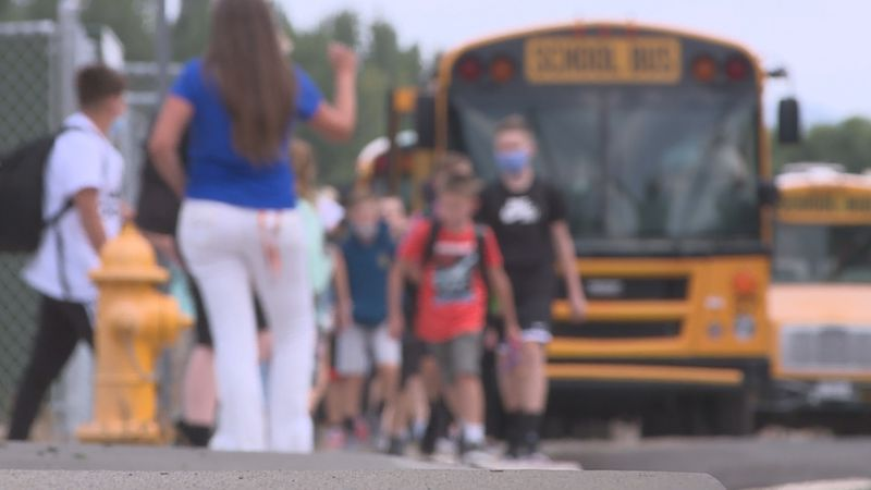Students & staff leave Carson Valley Middle School after the first day of classes.