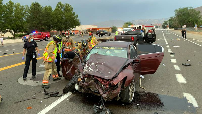 The Reno Fire Department released tis photo of a crash at McCarran boulevard and Airway Drive.