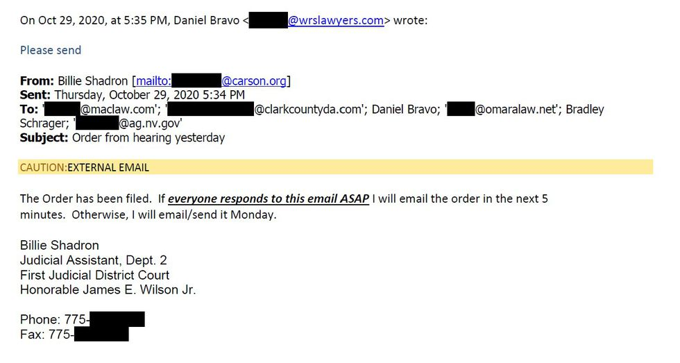 An email notes a five minute window for lawyers to agree to the release of a court decision.
