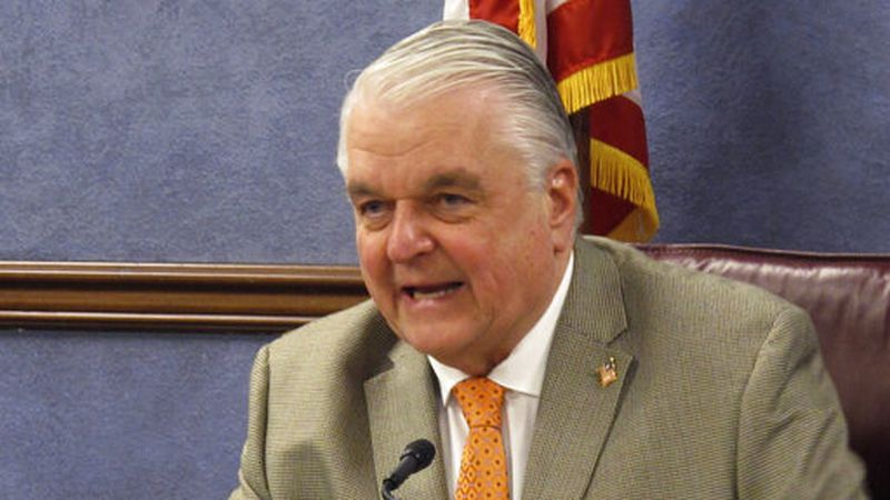 In this May 7, 2020, file photo, Nevada Gov. Steve Sisolak speaks during a news conference in...