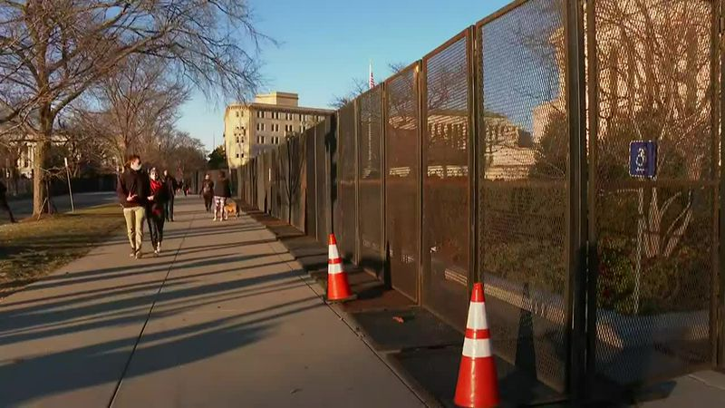 Fencing has been erected at the U.S. Capitol, site of a riot on Wednesday.
